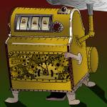 """Steampunk Liberty Bell Style Slots Machine"" by Casino"