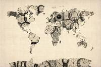 Map of the World Map from Old Clocks