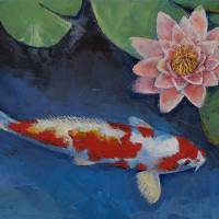 """Koi and Water Lily"" by creese"