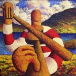 """Fiddle player  in landscape( impasto)"" by alankenny"