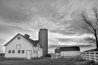 Country White Barn Black and White