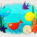 """Whimsey Aquarium Aquatic Cartoon"" by ReneeLozenGraphics"