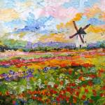 """Tulips growing wild Spring Countryside Oil Paintin"" by GinetteCallaway"