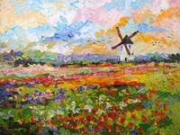 Tulips growing wild Spring Countryside Oil Paintin