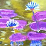 """White Water Lily on Purple Lily Pads"" by MarcyBrennanArt"