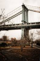 The Manhattan Bridge from park in Dumbo