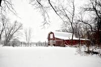 Red Barn in Winter - Glasford