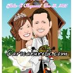 """Bride and Groom in a motorcycle - Caricatures From"" by caricatures-from-photos"
