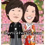 """Traditional Japanese Wedding Couple- Caricatures F"" by caricatures-from-photos"