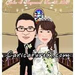 """Bride and Groom Hand in Hand at Church Wedding- Ca"" by caricatures-from-photos"