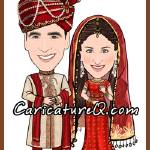 """Traditional Indian Wedding Couple- Caricatures Fro"" by caricatures-from-photos"