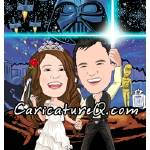 """Two ""Star Wars"" Fans - Geeked-Out Weddings!- Caric"" by caricatures-from-photos"