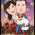 """The Superman Hero Fireworks Wedding"" by caricatures-from-photos"