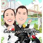 """Harley Davidson Motorcycle Rainbow Wedding"" by caricatures-from-photos"