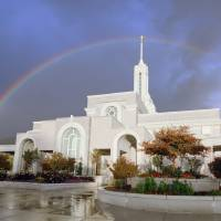 Mt. Timpanogos LDS Temple Rainbow Art Prints & Posters by David Kocherhans