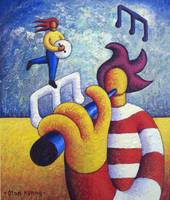 Two soft musicians with musical notes