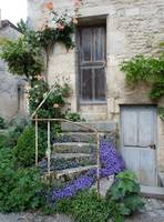 Medieval Staircase with Flowers