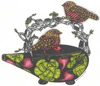 Two Birds on a Teapot with Branch Handle