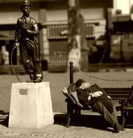 Tramp Dreams in Leiscester Square (sepia)