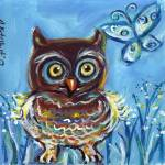 """Baby owl and butterfly"" by artbyangie"
