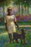 Black woman with dog