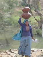 WOMAN CARRYING A JUG.