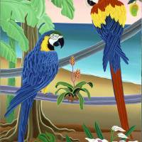 Red & Blue Macaws Art Prints & Posters by Raul del Rio