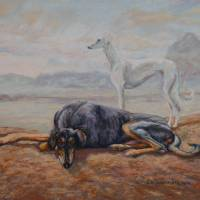 Two Saluki Hounds Art Prints & Posters by Sue Deutscher