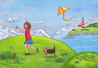 Girl with a Kite on a Sunny Summer Day