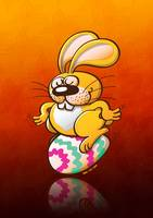 Easter Bunny Sitting on an Egg