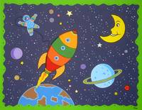 Space travel nursery room painting