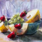 """Canary Melon, Strawberries and Grapes"" by LindaSMarino"