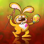 """""""Easter Bunny Painting an Egg"""" by Zooco"""