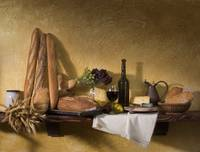 bread-cheese-wine still life