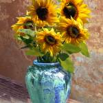 """""""Sunflowers in Blue-Green Vase"""" by spadecaller"""