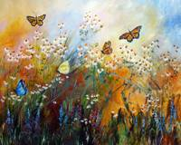 Chamomile Garden Butterflies Painting