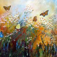 """Chamomile Garden Butterflies Painting"" by GinetteCallaway"