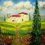 """Tuscany Hillside Painting"" by mazz"