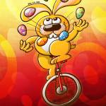 """""""Easter Bunny Juggling Eggs"""" by Zooco"""