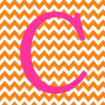 """Chevron C Orange and Pink"" by ZeppiPrints"