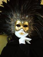 Marzia feather gold mask