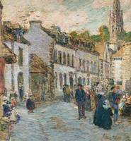 Street in Pont Aven - Evening by Childe Hassam