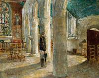 Church Interior, Brittany by Childe Hassam