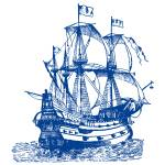 """Royal Blue Ship"" by ZeppiPrints"