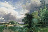 Landscape with a bridge by Thomas Moran