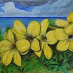 """Ocean and Yellow Flowers Cayman Brac Island Landsc"" by monteleethornton"