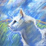 """White cat in the field"" by Antxx"