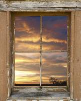 Rustic Window Colorful Sky View