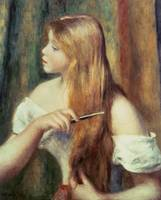 Blonde girl combing her hair by Pierre A. Renoire