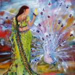 Woman in Sari - Peacock and Butterfly Ginette